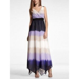Express Purple Ombre Style Surplice Maxi Dress Lg